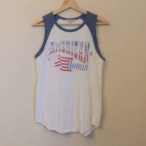 Junk Food American Woman Flag USA Cut Off Tank